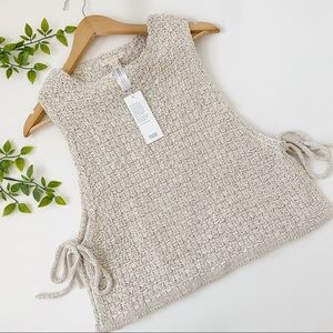 Eileen Fisher Woven Apron Layering Top with Ties